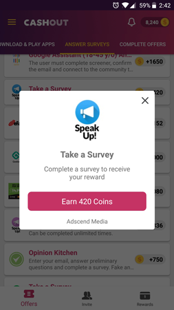 Earn Example - Screenshot